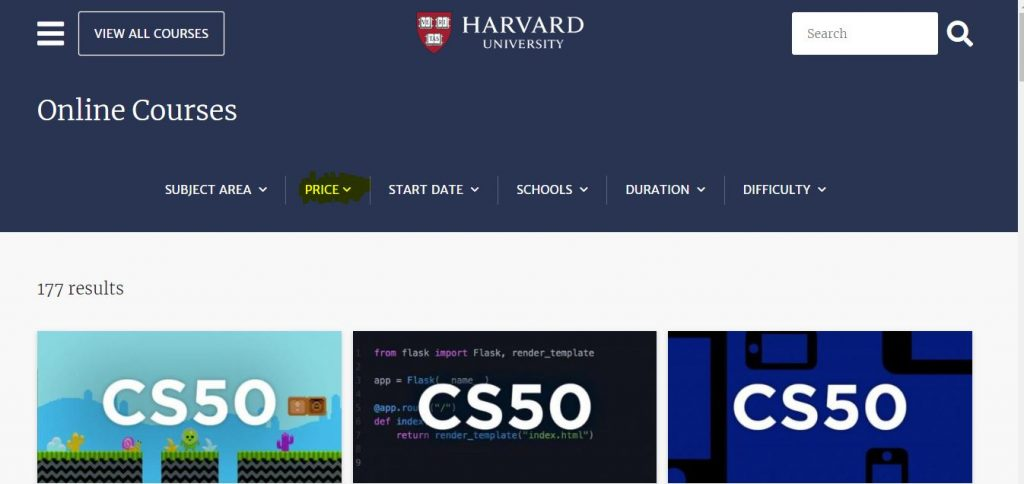 how to acess free courses of harvard university