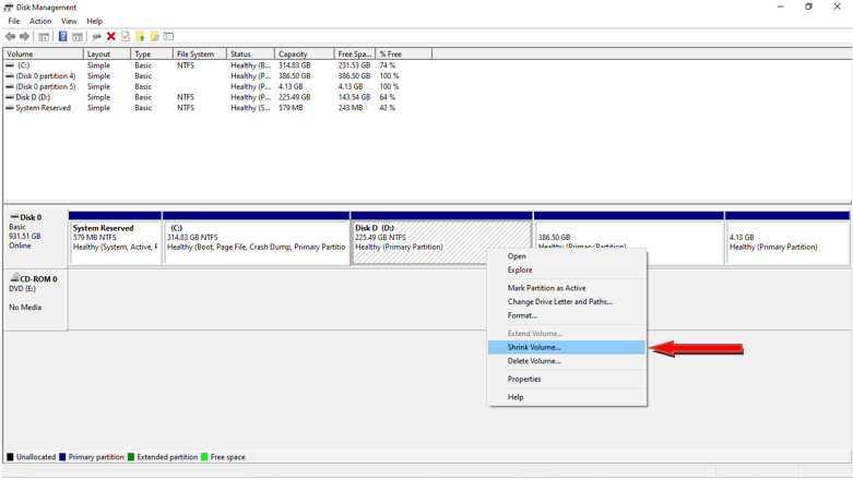 """Right-click on the drive D or E (or C) and choose """"Shrink Volume"""" from the drop-down menu."""
