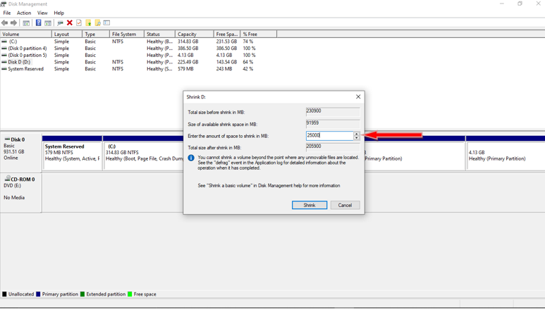You can see that a new partition will be available which will be unallocated.